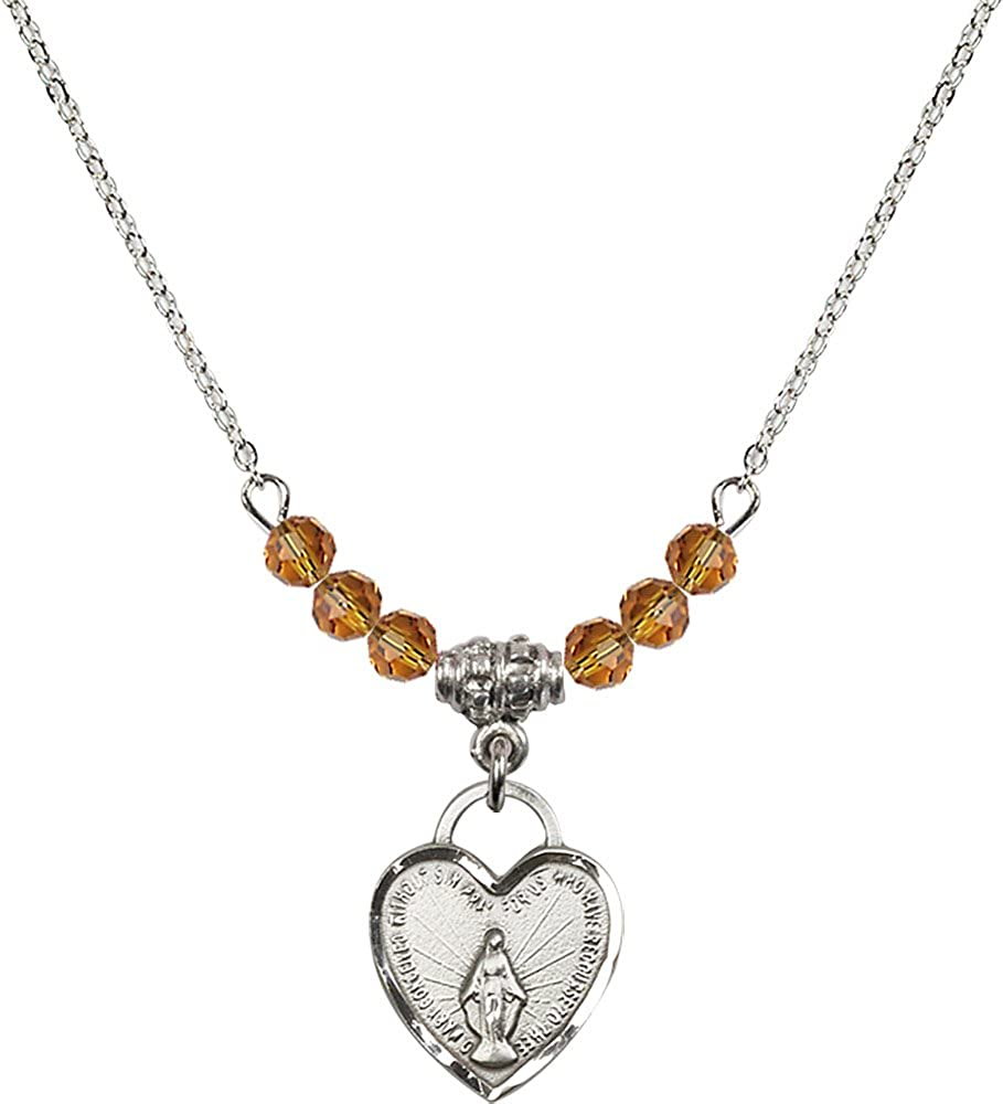 18-Inch Rhodium Plated Necklace with 4mm Topaz Birthstone Beads and Sterling Silver Miraculous Heart Charm.