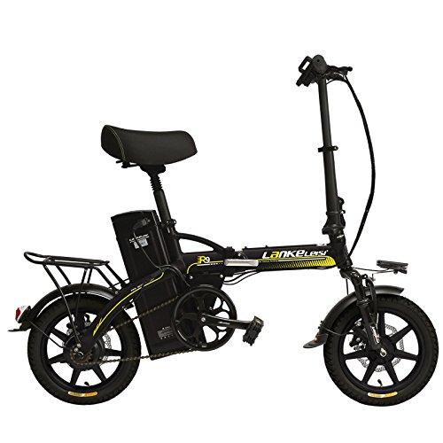 LANKELEISI R9 portátil de 14 pulgadas bicicleta eléctrica plegable, 48V 23.4Ah batería de litio fuerte, rueda integrada, suspensión EBike,Pedal Assist ...