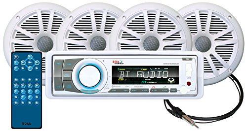 BOSS Audio Systems MCK752WB.64 Receiver Speaker Package, Bluetooth, CD MP3 USB SD AM FM Marine Stereo, Detachable Front Panel, Wireless Remote, 4 6.5 Inch Speakers, Antenna