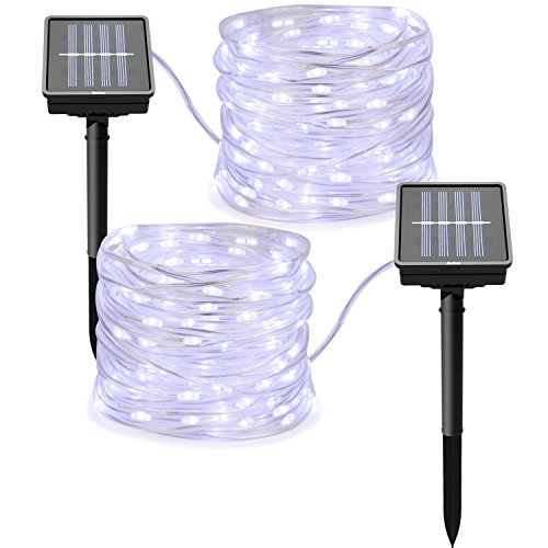 2 Packs Solar Powered String Lights,8 Modes Twinkling Rope Lights 100 LED 33 ft Solar Lights IP65 Waterproof Decoration Fairy Lights for Garden Home Wedding Party Christmas Outdoor Lights(Cool White)