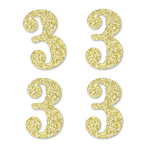 - Gold Glitter 3 - No-Mess Real Gold Glitter Cut-Out Numbers - 3rd Birthday Party Confetti - Set of 24