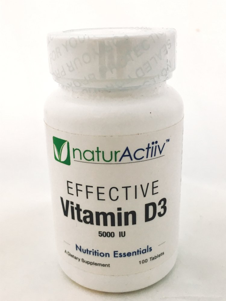 naturActiiv Effective D3-5000 IU - Potent Professional Vitamin D Ends Vit D Deficiency - No Oils/Non-GMO - Easy to Digest - 100 Microtabs