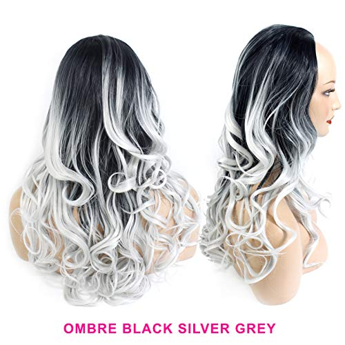 Ladies 3/4 Half Wig - Black/Silver Grey Ombre - Wavy Style - 22 Inches - 250g - Heat Resistant Synthetic Fibre - Clip In Hair Piece Extension - Looks and feels like real hair by Elegant -