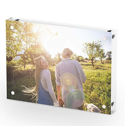 T ATHINK 5x7 Magnetic Acrylic Picture Frame, Crystal Clear & Free Standing & Double Side Desktop Photo Frame (5 X 5 Block)