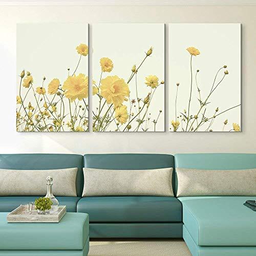 3 Panel Yellow Wild Flowers x 3 Panels
