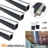 LightingWill Spot Free LED Aluminum Channel 6.6ft/2M 25 Pack(164ft/50M) 36x24mm Black U Shape Profile Internal Width 20mm with Cover, End Caps and Mounting Clips for Cabinet LED Strip Light - U05B2M25