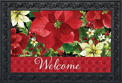 Briarwood Lane Poinsettia Welcome Christmas Doormat Floral Indoor Outdoor 18