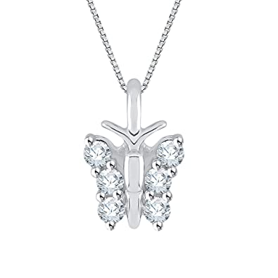 c6029f5ed4668 Amazon.com: Diamond Butterfly Pendant Necklace in 14K White Gold (1 ...