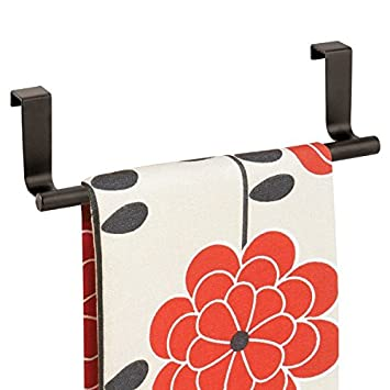 mDesign Decorative Kitchen Over Cabinet Towel Bar - Hang on Inside or Outside of Doors, Storage and Display Rack for Hand, Dish, and Tea Towels - 9 Wide, Strong Steel Design in Bronze Finish MetroDecor CECOMINOD034269