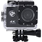 Acouto 2 Inch 4K 12MP Wifi sport Action Camera Uitra HD Waterproof DV Camcorder 140 Degree Wide Angle with Controller,Black/Yellow/Blue/White/Pink/Gold/Silver (Black)