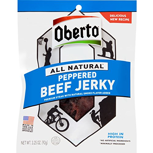 Oberto All Natural Peppered Beef Jerky, 3.25-Ounce Bag (Pack of 4)