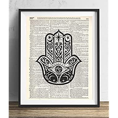 Buddha Palm Upcycled Vintage dictionary Art Print 8x10