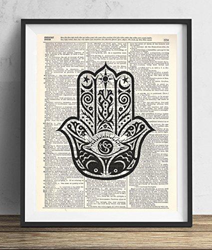 Buddha Palm Upcycled Vintage dictionary Art Print 8x10