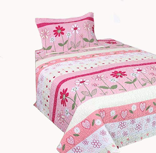 Mk Collection 2 Pc Twin/Twin Extra Long Bedspread Teens/Girls Pink Flower New ()