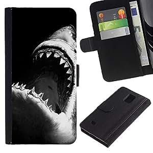 Be Good Phone Accessory // Caso del tirón Billetera de Cuero Titular de la tarjeta Carcasa Funda de Protección para Samsung Galaxy Note 4 SM-N910 // jaws shark black white surfing surf