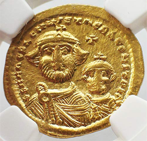 TR 613-641 AD Byzantine Empire Authentic Gold Coin AV Solidus About Uncirculated NGC