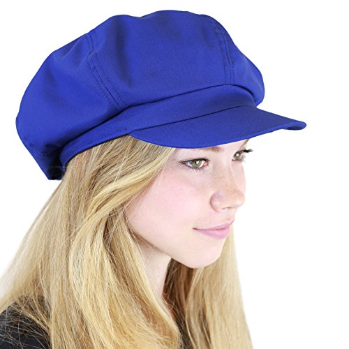 THE HAT DEPOT 100% Cotton Plain Blank 6 Panel Newsboy Gatsby Apple Cabbie Cap Hat Made in USA (Royal)