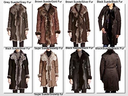 Vraie Avec Aux Manteau Fourrure La De Peau Cascade Nappa 3 Mouton Noire D'hiver Femmes 4 Longue tUqrgUxz