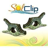 Beach Towel Clips, pegs, clamps, épingles, pinces à serviette de plage, SolClip Canada, Crocodile Caiman