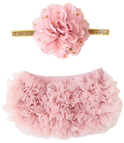 OoSweetCharlotteoO 2pcs Baby Girl Chiffon Bloomer & Headband Set Newborn Photo Prop Baby Girl Cake Smash Outfit (Newborn【weight less than 13lbs】)