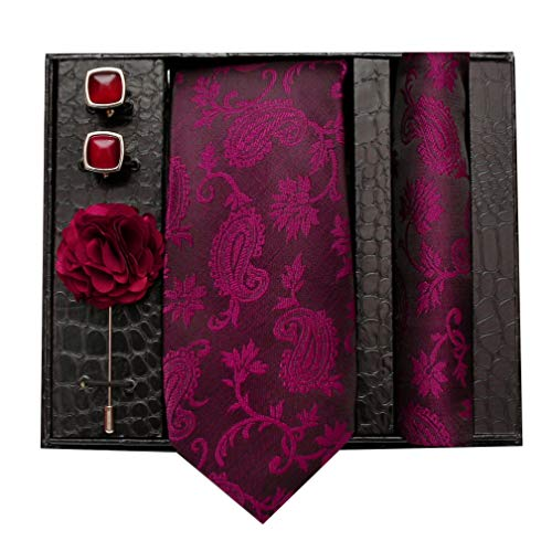nu-Lite Formal/Casual Printed Polyester Necktie Set with Pocket Square, Brooch Pin and Cufflinks for Men