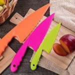 Jovitec 8 Pieces Kid Plastic Kitchen Knife Set, Children's Safe Cooking Chef Nylon Knives for Fruit, Bread, Cake, Salad, Lettuce Knife 18 Versatile kitchen tools for kids: this nylon knife set contains 5 pieces square knife, 3 pieces cusp shape knife, has different beautiful and bright colors Wide usage: knife can safely cut many types of fruit, lettuce, vegetables, bread, cheese, cake, carrots, zucchini, strawberries and more Characteristic: the nylon knife has serrated edges, this little chef set will help safeguard fingers from the dangers and risks of peaked metal knives