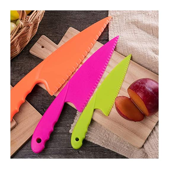 Jovitec 8 Pieces Kid Plastic Kitchen Knife Set, Children's Safe Cooking Chef Nylon Knives for Fruit, Bread, Cake, Salad, Lettuce Knife 4 Versatile kitchen tools for kids: this nylon knife set contains 5 pieces square knife, 3 pieces cusp shape knife, has different beautiful and bright colors Wide usage: knife can safely cut many types of fruit, lettuce, vegetables, bread, cheese, cake, carrots, zucchini, strawberries and more Characteristic: the nylon knife has serrated edges, this little chef set will help safeguard fingers from the dangers and risks of peaked metal knives