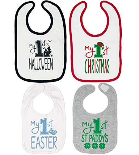 Holiday Bib Baby - Aiden's Corner Handmade Baby Holiday Bib Set 4 Pack - Xmas, Easter, Halloween, St Paddy's
