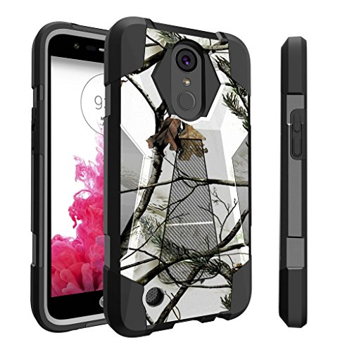 Untouchble Case for LG K20| K 20 Plus Camo Case| LG Grace | K10 (2017) Case | LG V5 [Traveler Series] Shockproof Hybrid 2 Layer Case with Kickstand Case - Snow Hunt Camo