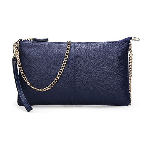 Real Women Shoulder Small Ladies Clutch Soft Cowskin Evening Leather Party Girl Gift Handbags Bags Blue Navy Genuine Chain Classic Bag wznEx8g8YI