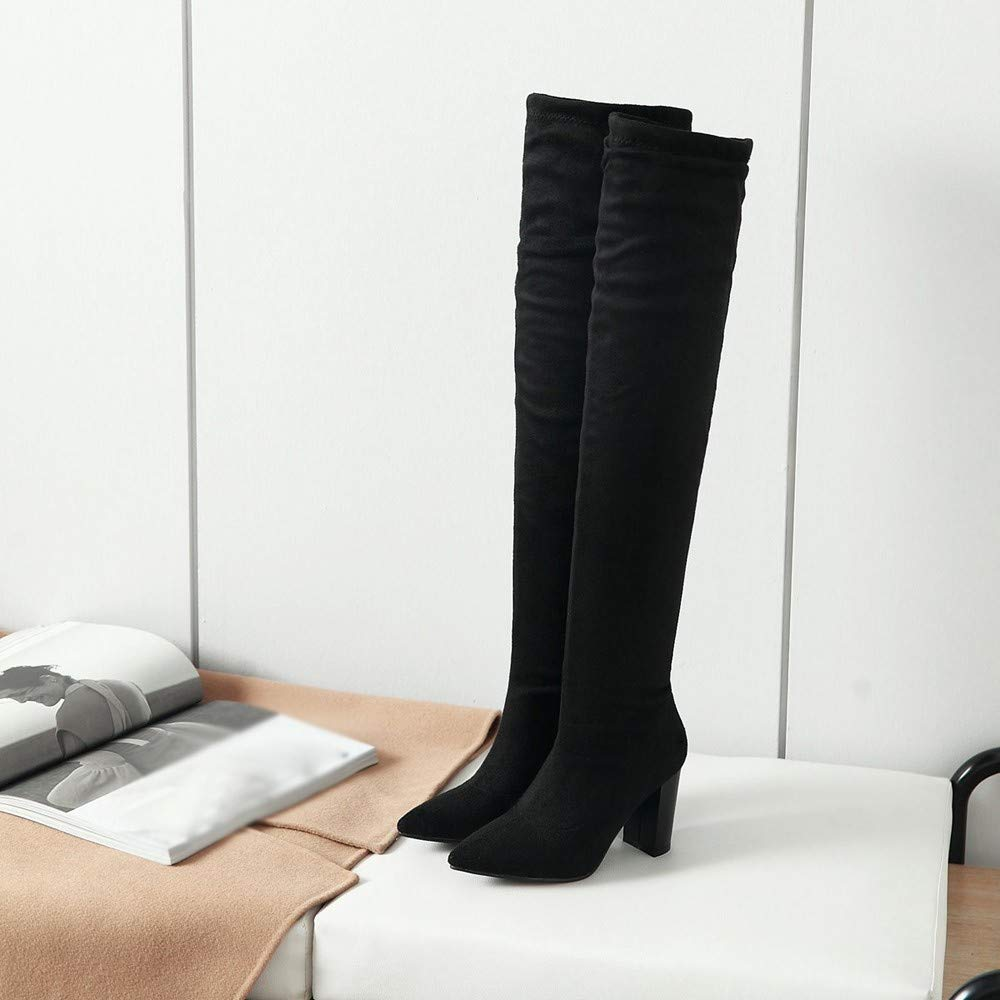 RedBrowm-women Over Knee High Boot Lace Up Stretch Slim Thigh High Heel Long Thigh Boot