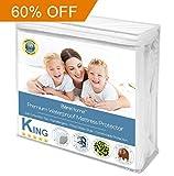 Waterproof Mattress Protector - King Size Premium Mattress Protector - 100% Waterproof - Vinyl Free Hypoallergenic - 10 Year Warranty - (King, White)