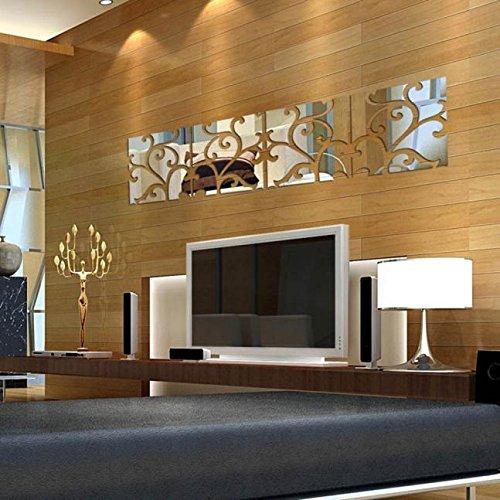 photno 32pcs DIY 3d espejo acrílico de Vinilo Mural Adhesivo decorativo para pared decoración del hogar extraíble: Amazon.es: Hogar