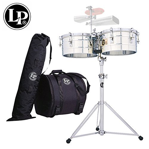 """LP Latin Percussion Tito Puente Timbales Set - 14"""" & 15"""" Stainless Steel Shells -Includes: Heavy-Duty Stand, Cowbell Bracket, Timbales Stick, Tuning Wrench, & LP539-BK Gig Bag Set"""