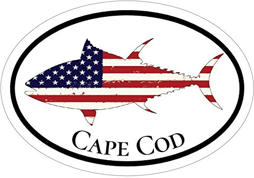 WickedGoodz Oval American Flag Tuna Cape Cod Decal - Beach Bumper Sticker - Perfect Massachusetts Vacation Gift