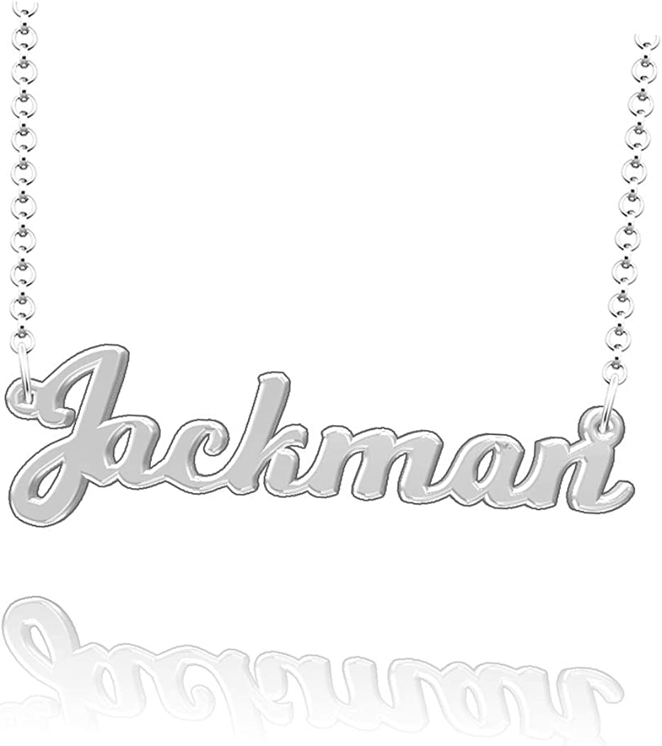 LoEnMe Jewelry Jackman Name Necklace Sterling Silver Plated Custom Made of Last Name Personalized Gift for Family