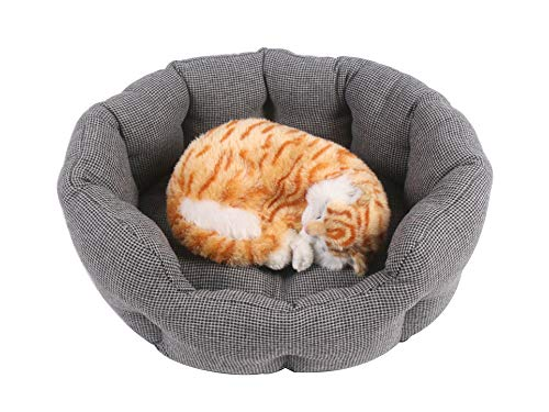 CCdo Round Bolster Pet Bed - Soft Cat Dog Couch Sofa, Neck & Joint Support Four Seasons Universal Cozy Sleep Cushion for Small Medium Pet, Scratch-Proof - Grey M