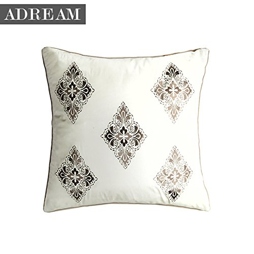 Adream 100%Cotton Embroidery Euro Shams Solid Color Pillow Cover Pillowcase European Pillowcase, 26