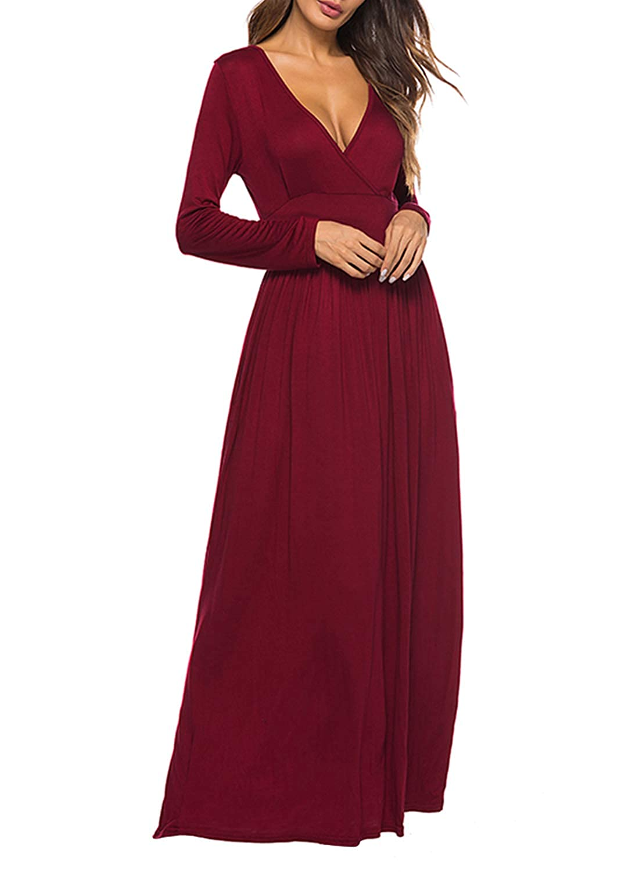 3b20e219e7a9 REMASIKO Women's Long Sleeve V-Neck Wrap Waist Maxi Dress with Pocket at  Amazon Women's Clothing store: