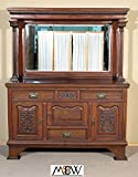 Antique English Solid Walnut Victorian Buffet Sideboard Server with Mirror