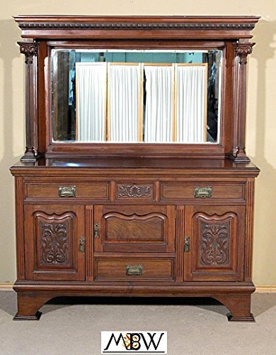 Antique English Solid Walnut Victorian Buffet Sideboard (English Victorian Walnut)