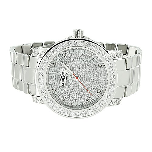 Mens Custom Khronos Watch Hip Hop Genuine Diamond Dial Roman Numeral White Gold Finish by Master Of Bling