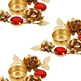Sets Of 3 - Golden Red Designer Diyas Christmas Decor Decorations Candle Tea Light Holder