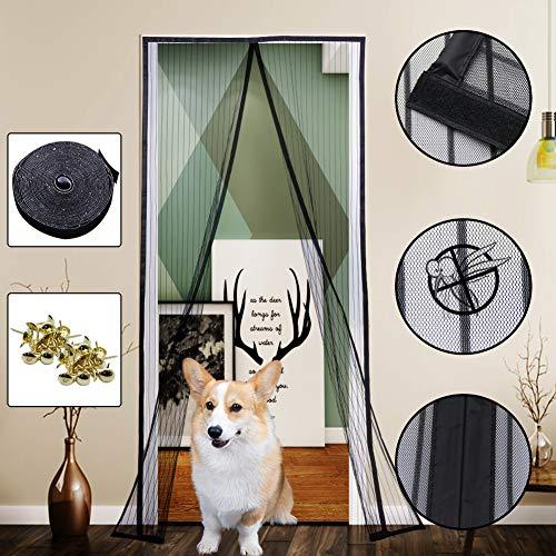 Yofit Magnetic Screen Door Curtain, Heavy Duty Mesh Curtain Self-adhesive Velcro Door Screen Fits Door Frame Size Up To 36-82 Black