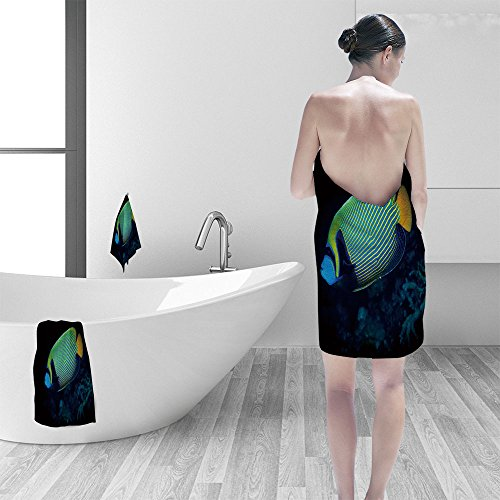 St Johns Red Sea (Hand towel set The striking colors of the Emperor angelfish (Pomacanthus imperator) at night on the reef at St John's Paradise Red Sea Egypt personality printPolyesternon-mildewpattern custom made)