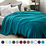 Bedsure Flannel Fleece Luxury Blanket Teal King Size Lightweight Cozy Plush Microfiber Solid Blanket