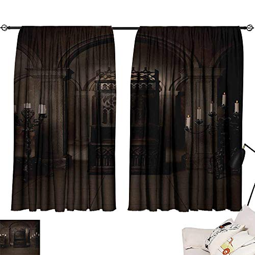 WinfreyDecor Gothic Thermal Curtains Royal Throne in Medieval Castle Renaissance Kingdom Heritage Retro Antique Photo Suitable for Bedroom Living Room Study, etc.55 Wx63 L