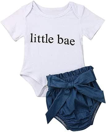 Mbby Niña Camiseta Manga Corta con letras + pantalones cortos con ...