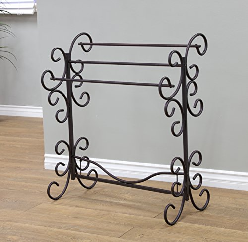 Frenchi Home Furnishing Metal Scroll Blanket Rack, Black (Quilt Metal Rack)