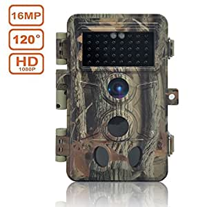 DIGITNOW Trail Camera 16MP 1080P HD Waterproof, Wildlife Hunting Scouting Game Camera with 40Pcs IR LED Infrared Night Vision Up to 65FT/20M, Surveillance Camera 130° Wide Angle 120° Detection
